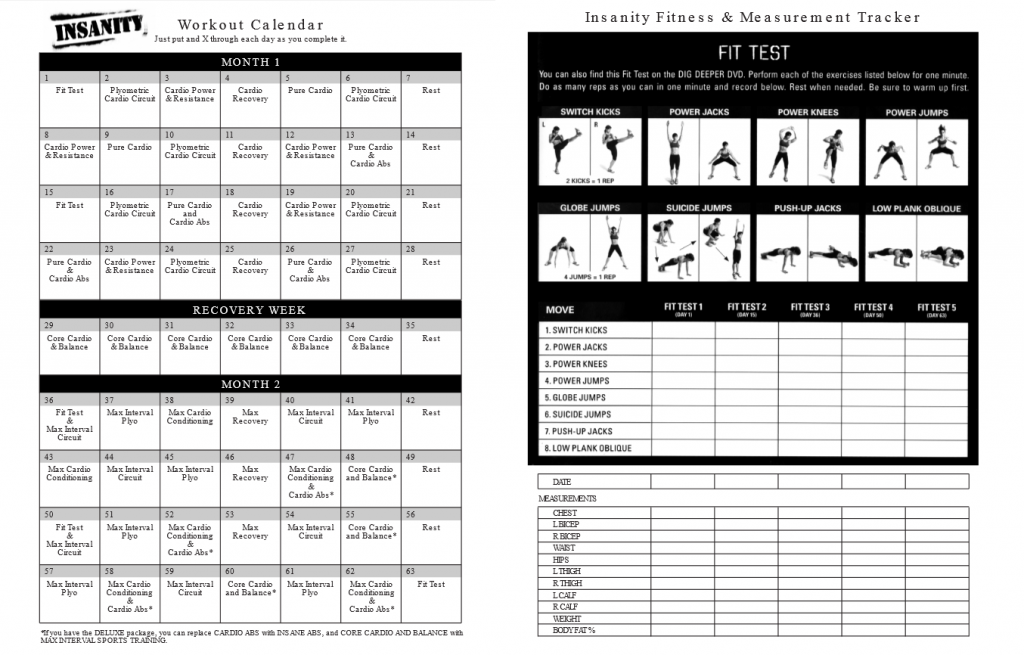 Insanity Workout Schedule And FIt Test
