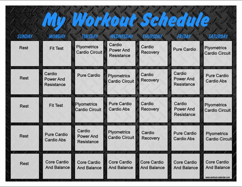 Insanity Workout Schedule Calendar Pdf | Training Programs