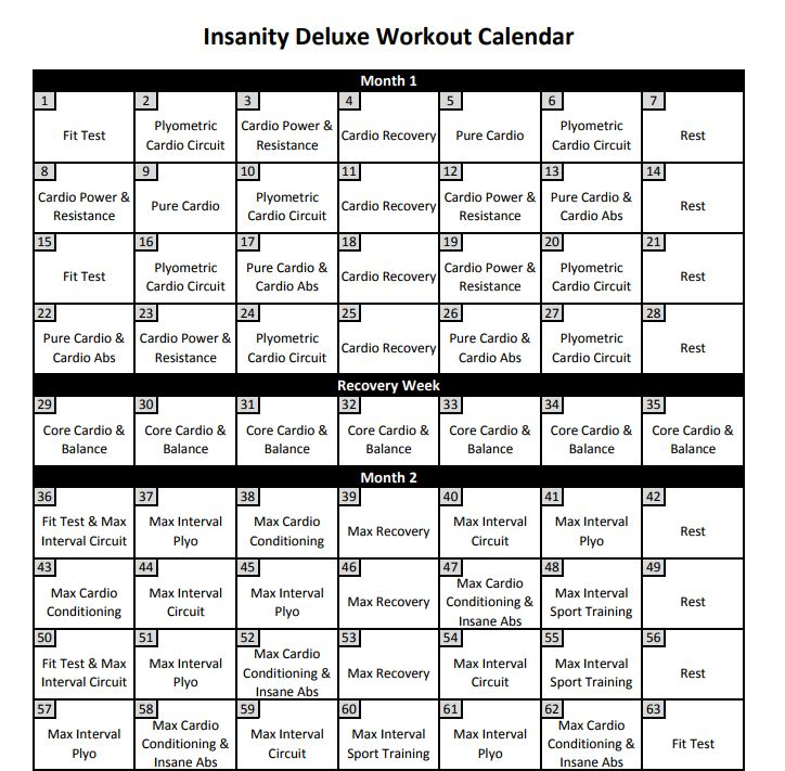 image regarding Printable Insanity Calendar identify Madness Calendar: 11 Madness 60 Working day Training Calendar