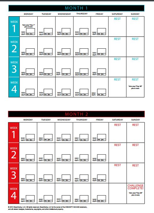 photo about Insanity Workout Schedule Printable named Madness Calendar: 11 Madness 60 Working day Exercise session Calendar
