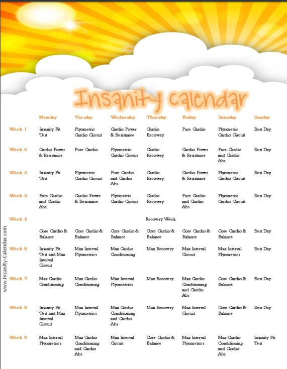 Insanity Workout Schedule 6