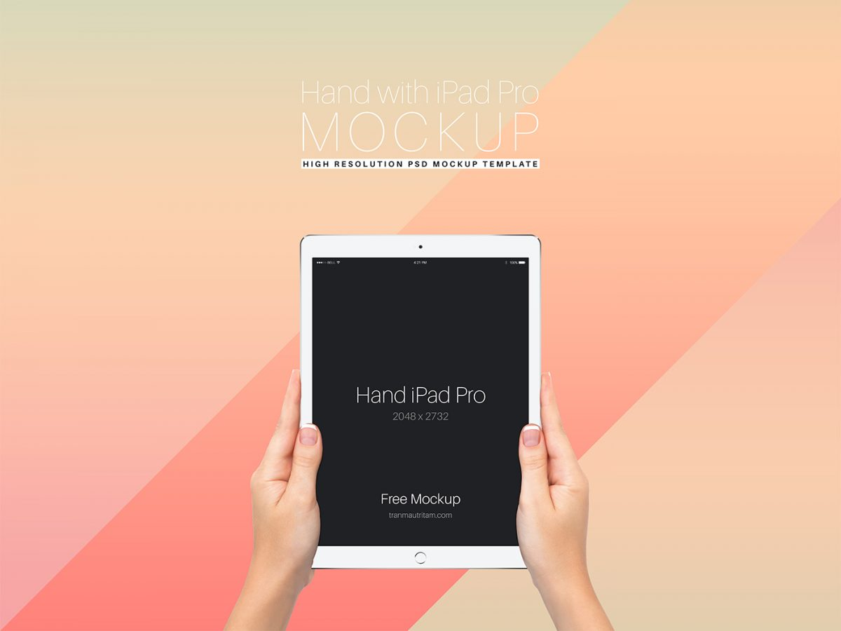 Free Hand with iPad Pro PSD Mockup