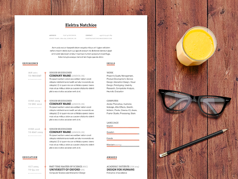 indesign resume templates 25