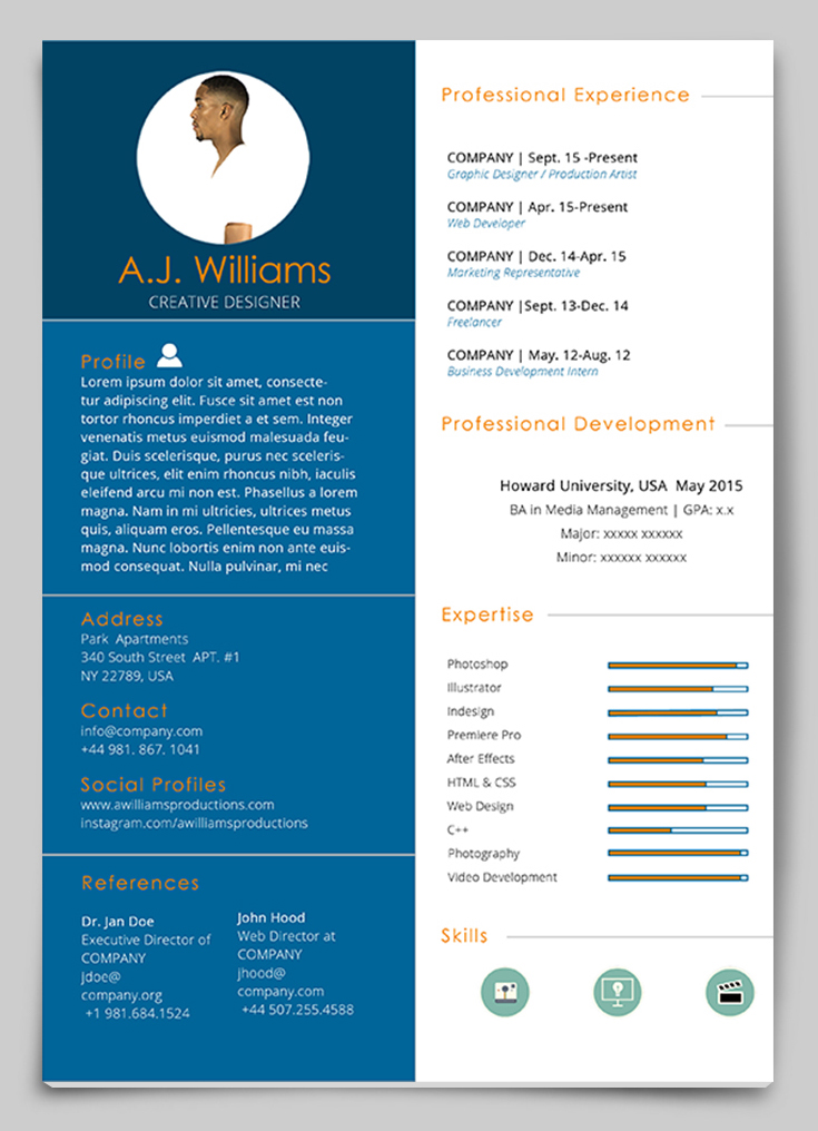 Beau Indesign Resume Templates 4