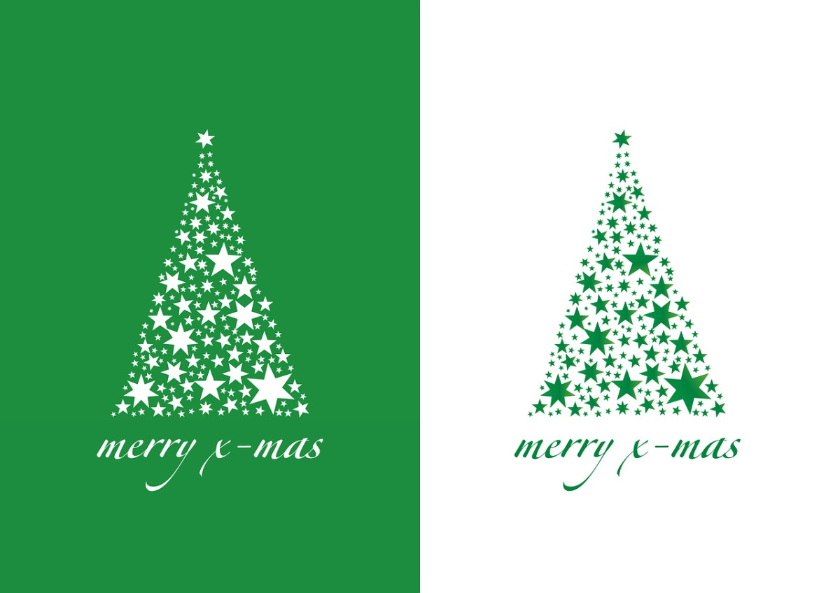 Christmas Tree Green And White Wallpaper