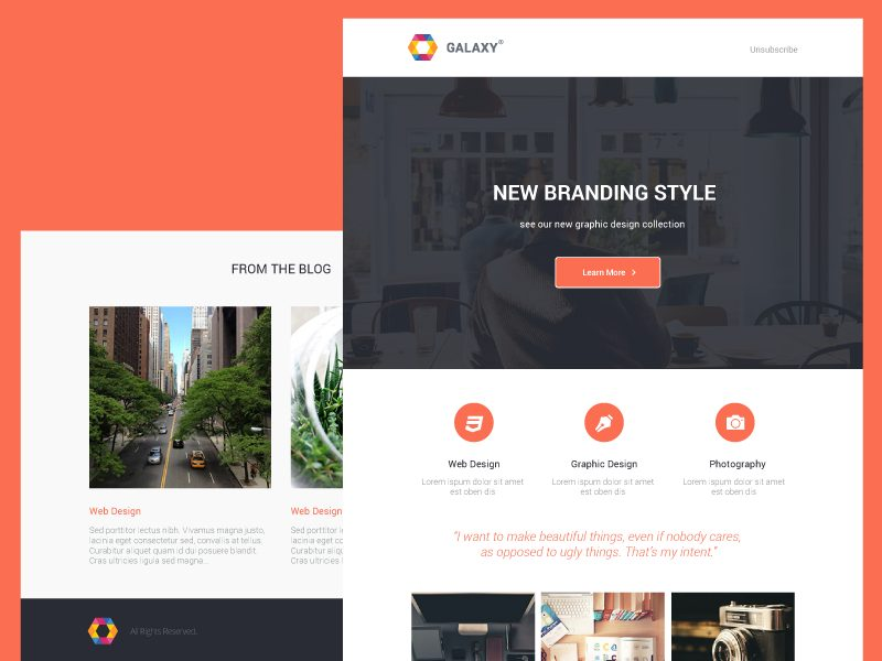 Galaxy,Newsletter PSD Template