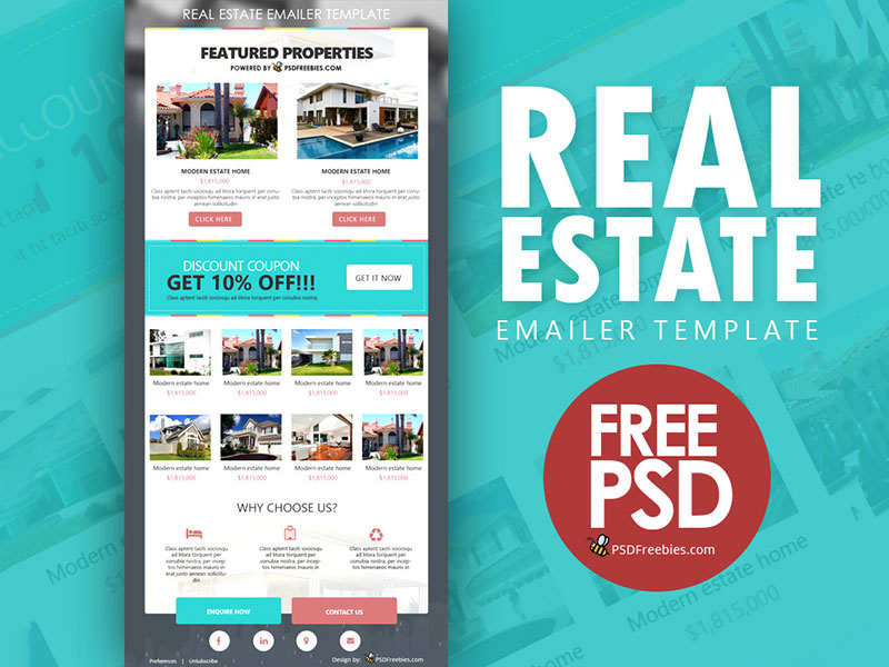 Real Estate E-mailer Template Free PSD