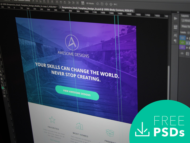 Responsive Email Template Design   Free PSD