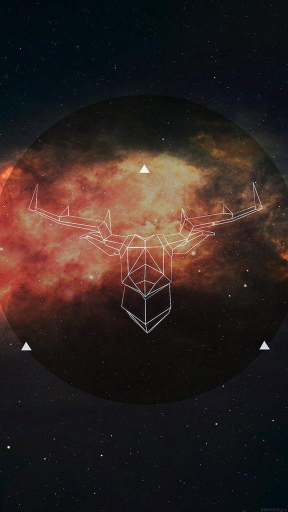 Art Illust Deer Space Dark