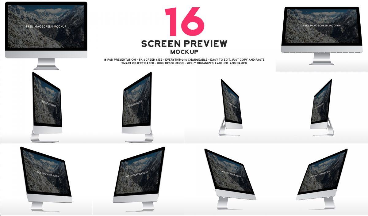 Free iMac screen 5k mockup