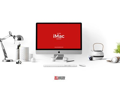 Free Silver iMac Mockup PSD Template