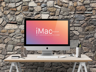 iMac in Home Office Mockup Free PSD