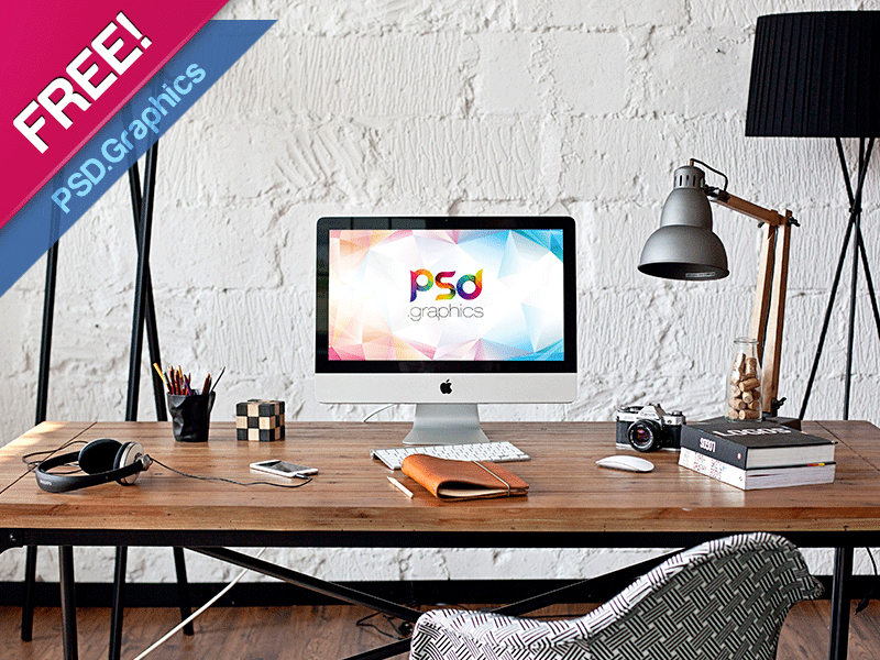 iMac in Home Office Mockup Free