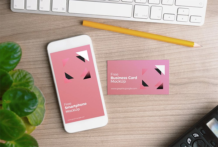 iphone-with-business-card-mockup