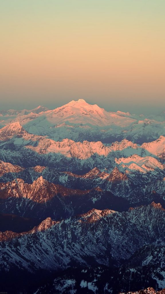 mountain-blue-snow-in-sunset