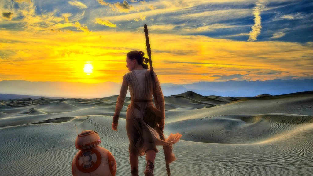 rey and bb8 at desert star wars wallpaper