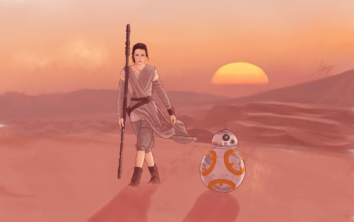 rey and bb8 star wars drawing art wallpaper the force