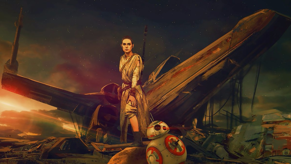 rey and bb8 star wars wallpaper art