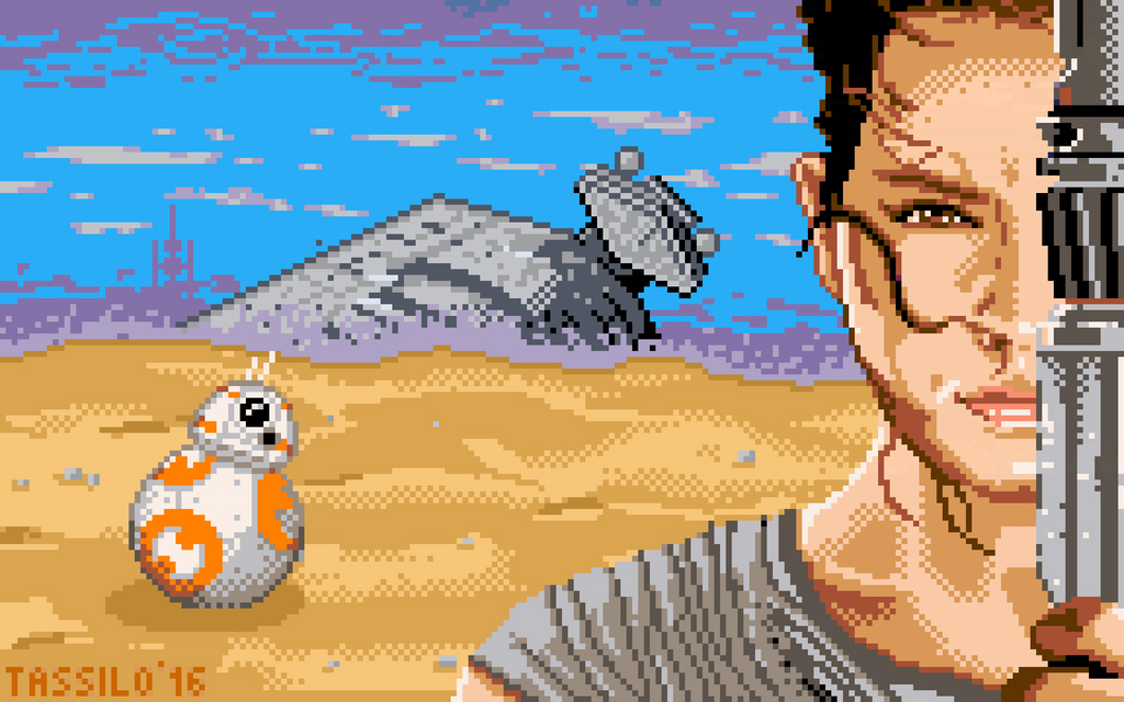rey pixel art star wars wallpaper