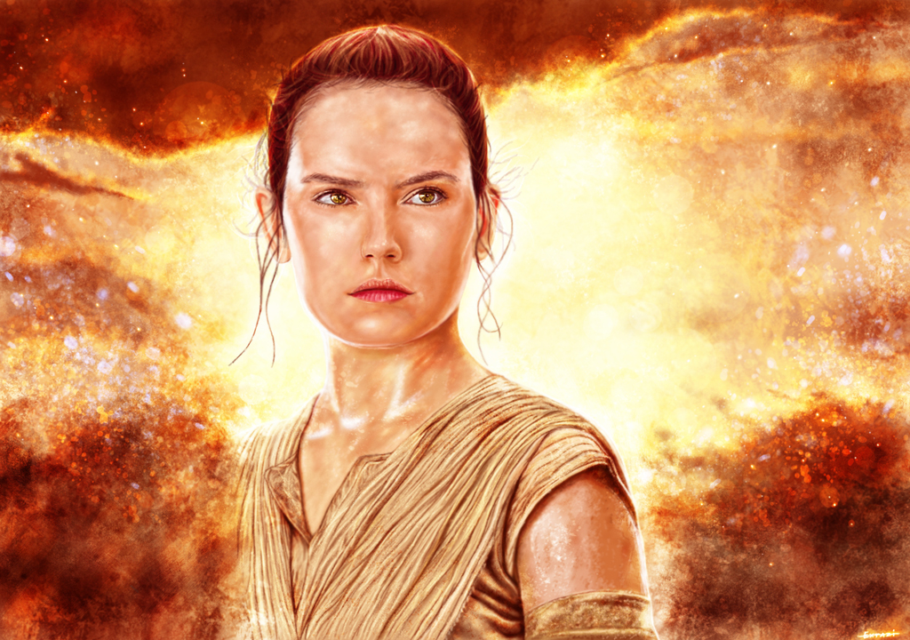rey star wars digital painting wallpaper