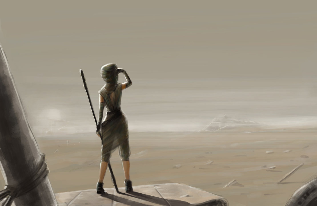 rey star wars drawing paint wallpaper