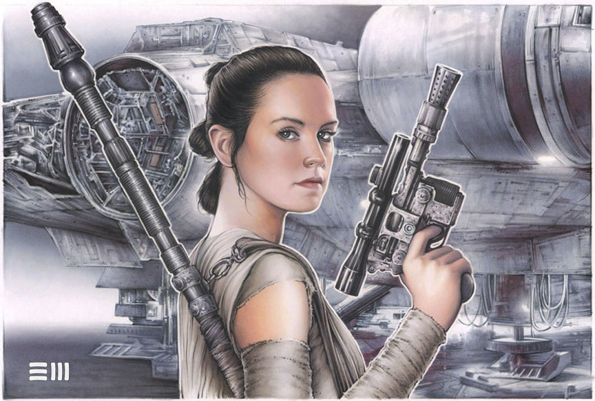 rey star wars watercolor wallpaper