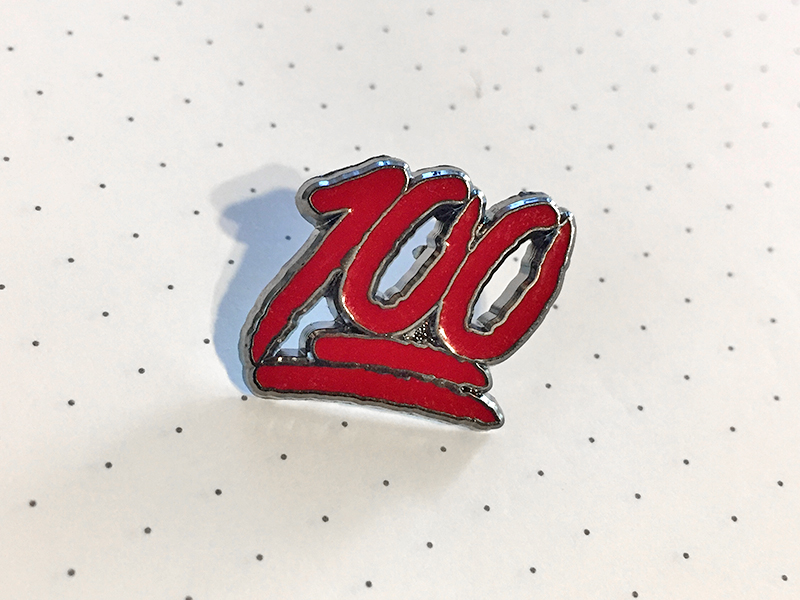 100 enamel pin mockup