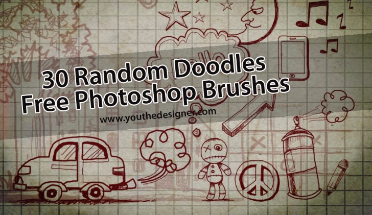 30 Random Doodles Free Photoshop Brushes