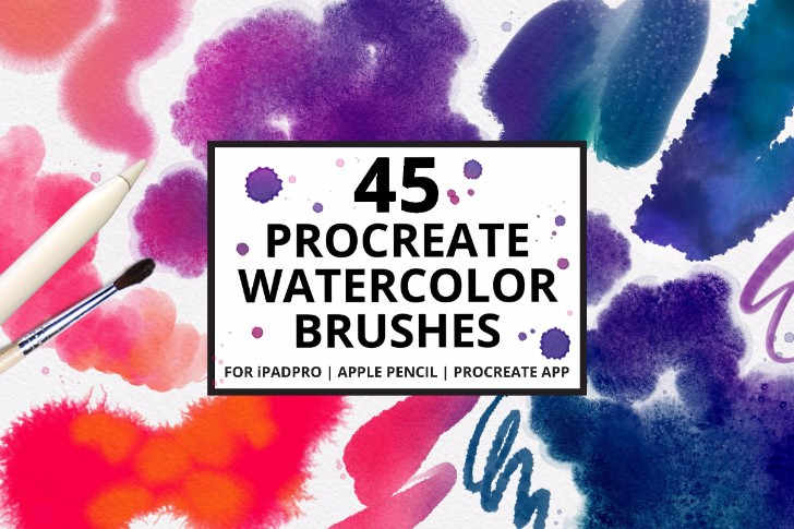 45 Procreate 4 Watercolor Brushes