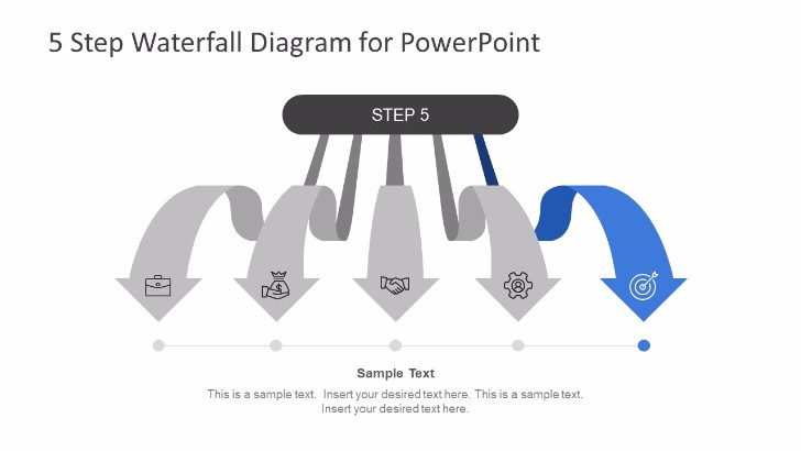 5 Steps Waterfall PowerPoint Diagram