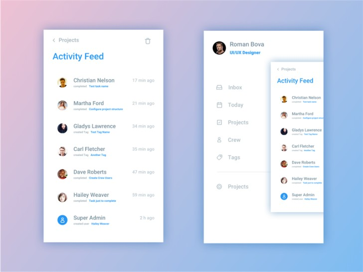 Activity Feed Screen Sketch Resource