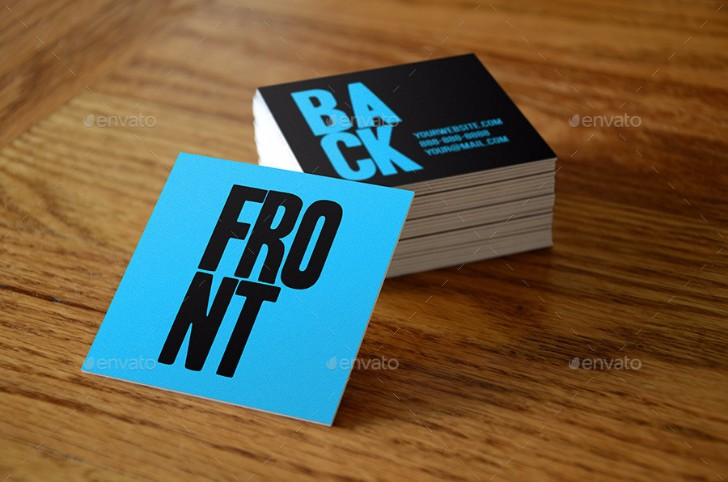 blue square business card mockups vol1
