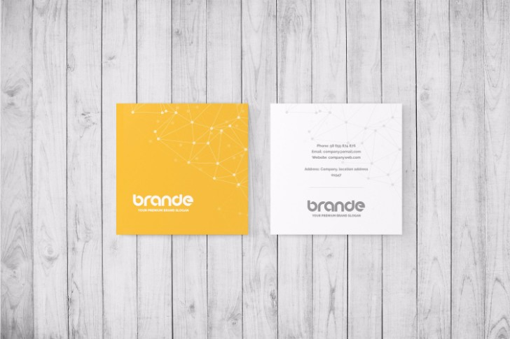 Brande Square Business Card Mockup