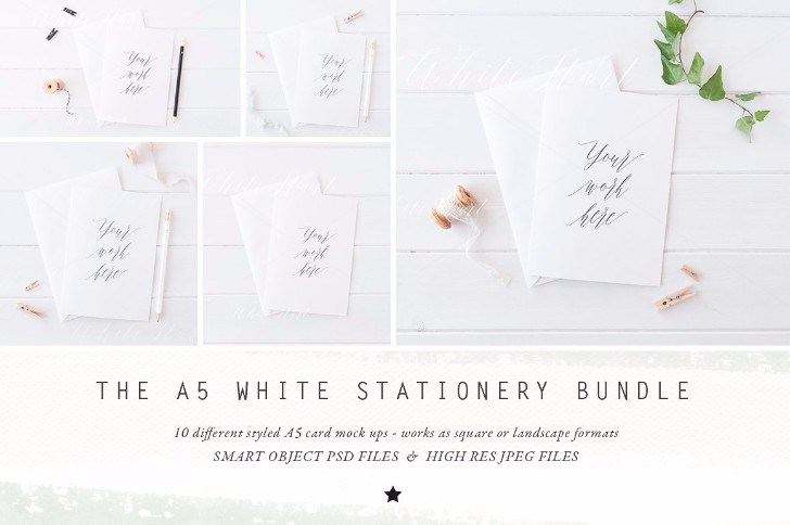 BUNDLE A5 stationery cards mock up
