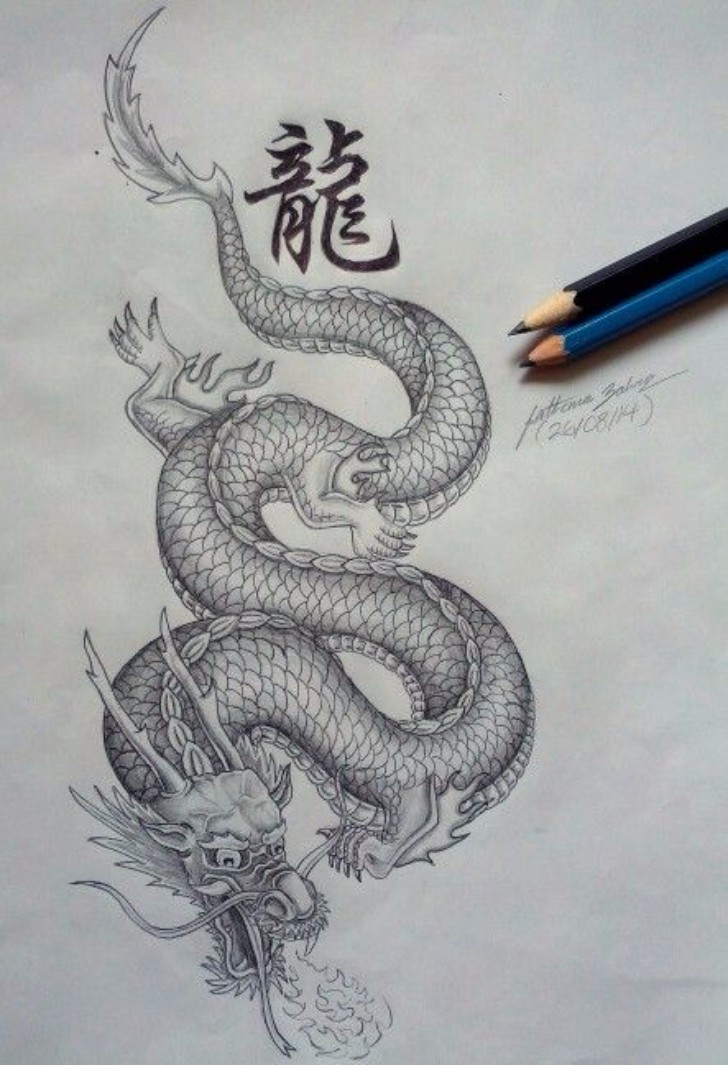 Chinese Language Dragon Drawing