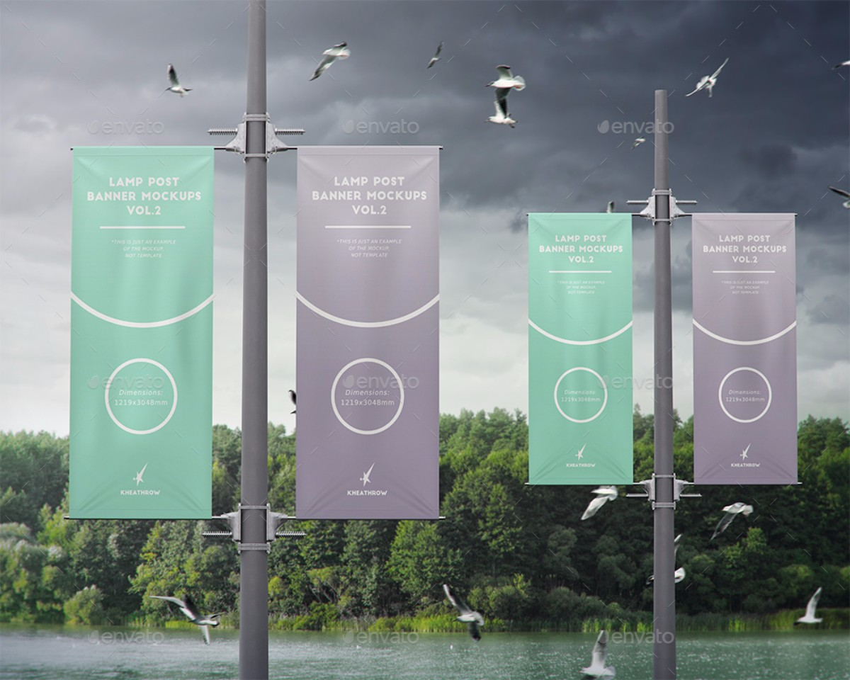 city lamp post banners mockups vol2