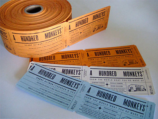 Clever Ticket Roll Style Business Cards