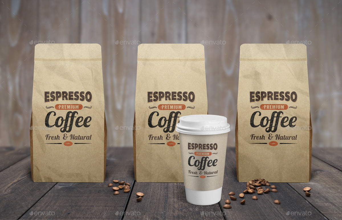 Coffee Bag Cup Mock Up