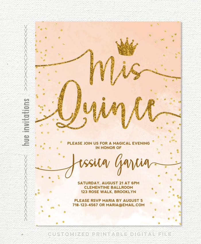 35 beautiful and unique quinceanera invitations templates coral peach invite stopboris Images
