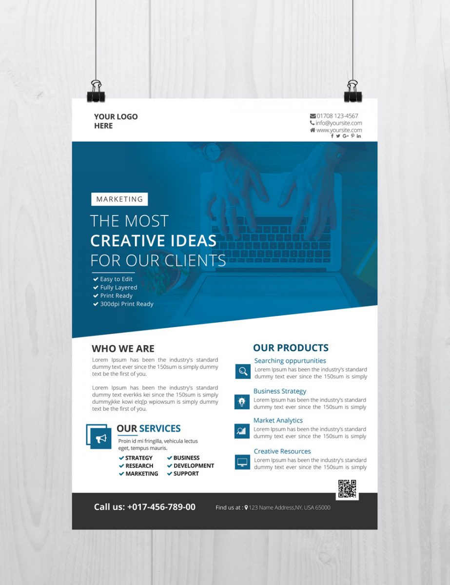 25 free business flyer templates for photoshop mashtrelo for Free business brochure templates download