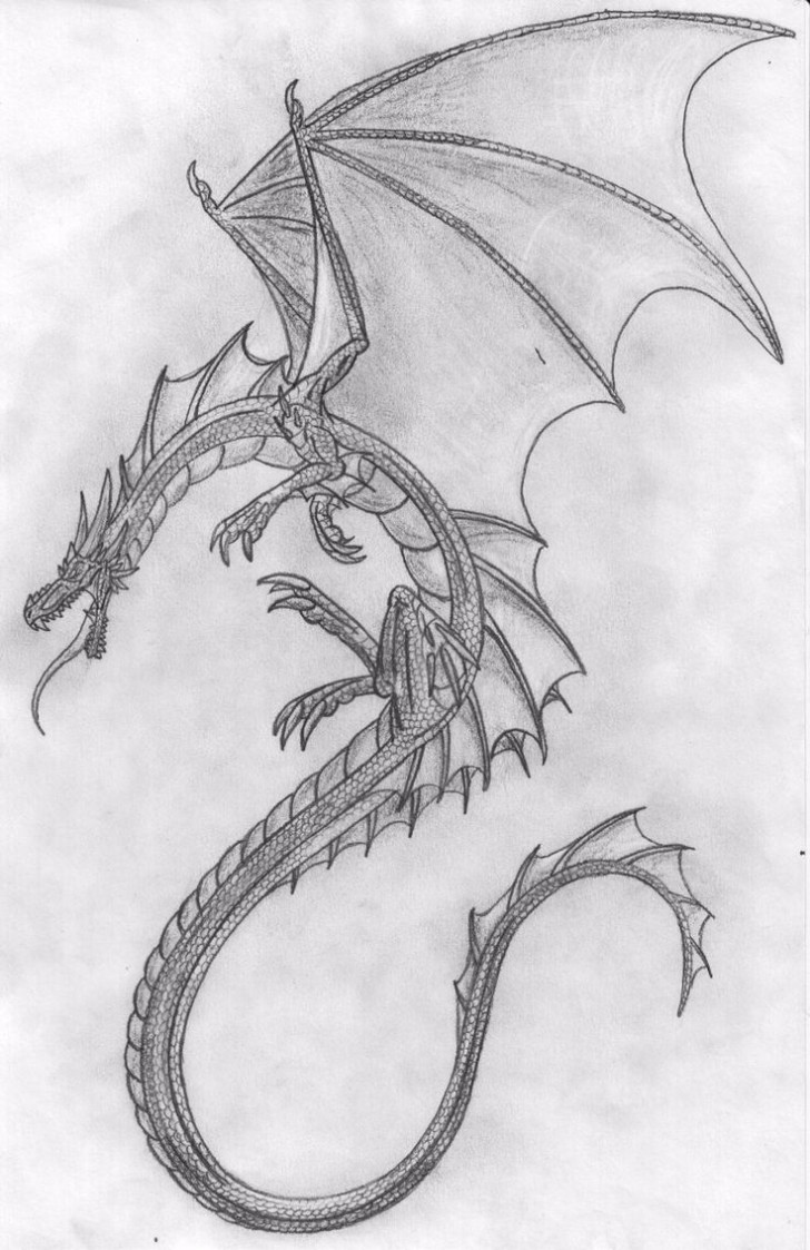 Dragon Drawing In Pencil