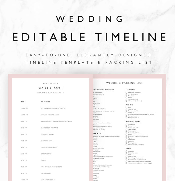 25 beautiful wedding timeline templates mashtrelo editable wedding schedule junglespirit Images
