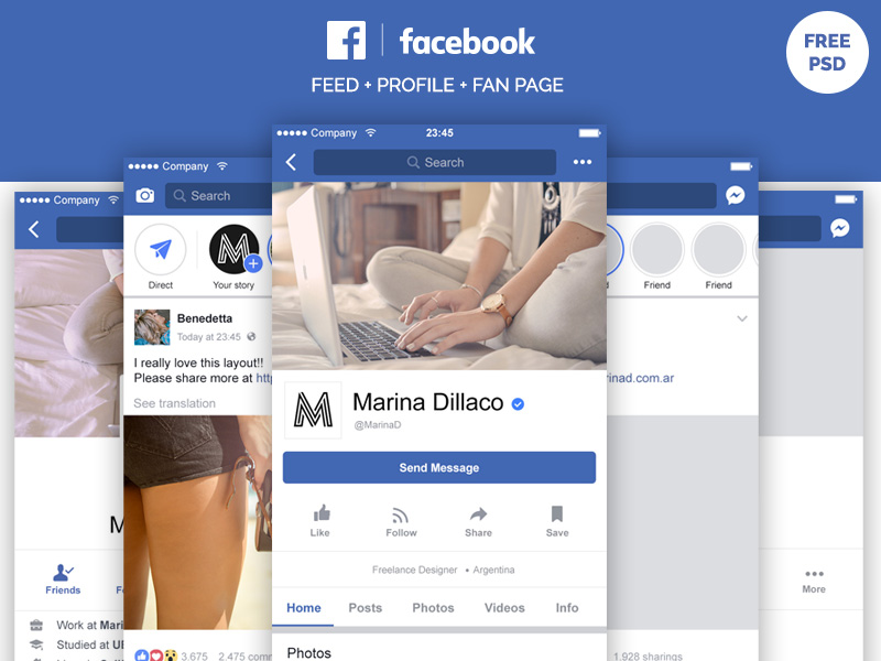 Facebook Mobile Layout FREE PSD