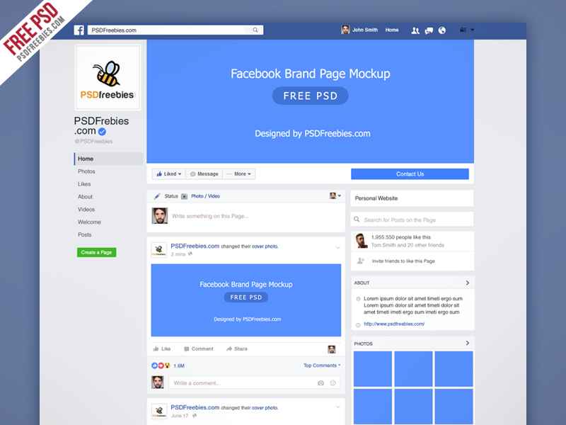Facebook New Brand Page Mockup PSD