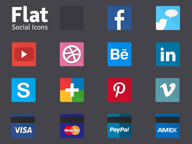 Flat Social 14 Icons