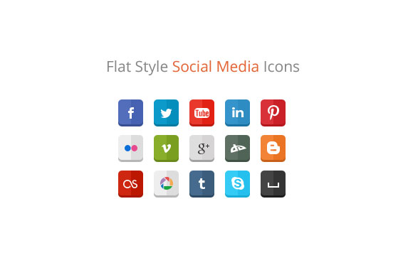 Flat Style Social Media Icons