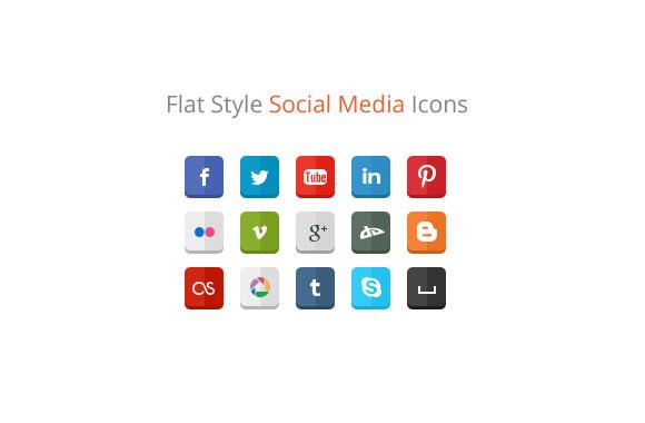 Flat Style Social Media Icons