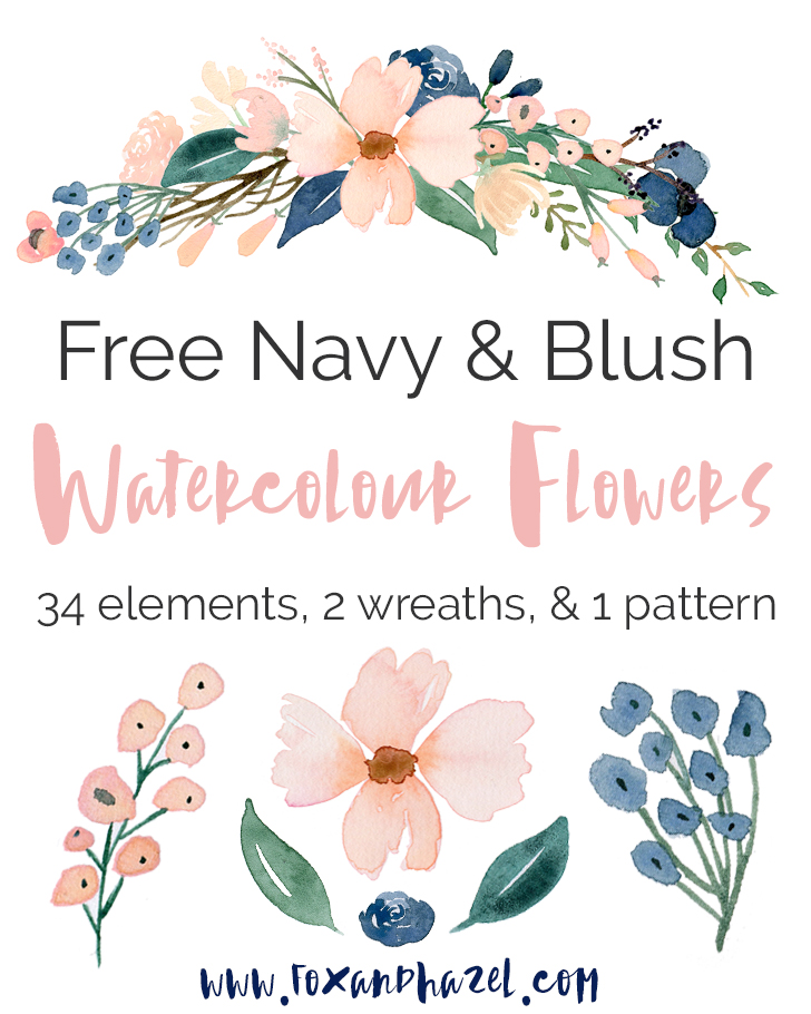 FREE BLUSH NAVY WATERCOLOR FLOWER GRAPHICS