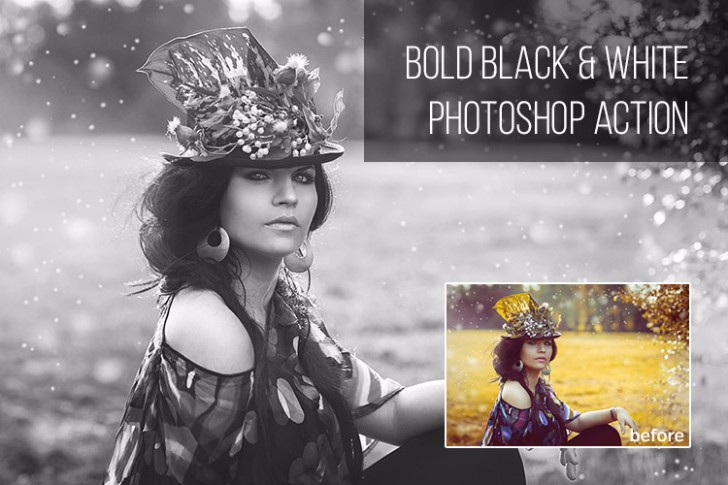 Free Bold Black White Photoshop Action