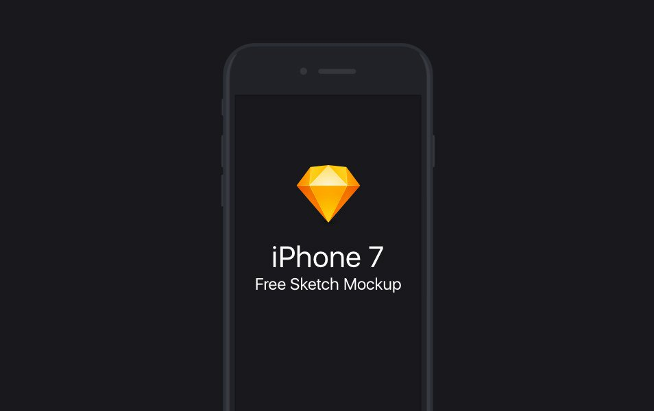 Free Flat iPhone 7 Sketch Mockup